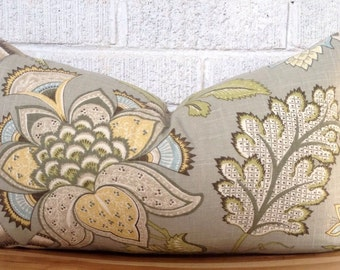 Grey Floral Pillow Cover, Gray Blue Yellow Green Lumbar Pillow Cover