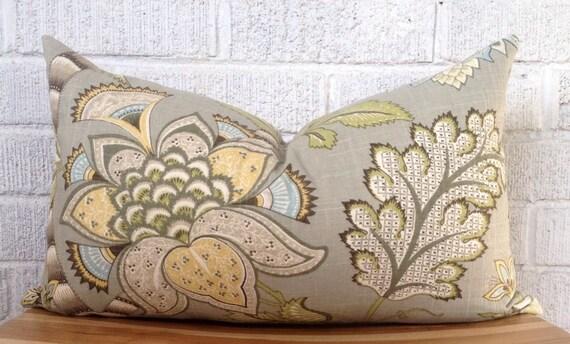 Grey Floral Pillow Cover Gray Blue Yellow Green Lumbar Pillow