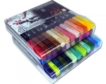 Sakura Koi Coloring Brush Pen Sets, Set of 6, 12, 24, 48 Blendable Brush Pens, Koi Coloring Accessories, Lettering, Manga, Graphic, Fine Art