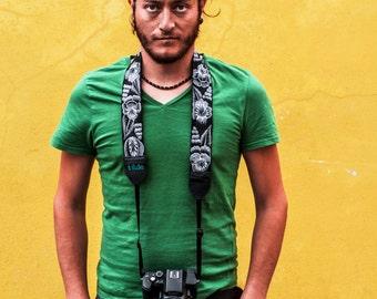 DSLR camera strap, Leather camera strap, Black camera strap, Gift photographer, Gift for him - Jardín (Garden) in grey, black, white - JDC7