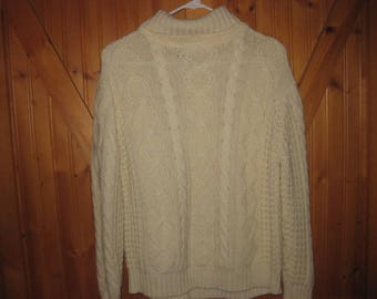 Mens Vtg Sears Kings Road Small  Fisherman knit turtleneck sweater in the cream ivory acrylic knit