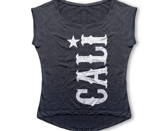 CALI Women's T Shirt - Tri-Blend Dolman Tee - Women's Fashion, . - California Republic, Los Angeles, Hollywood, West Coast