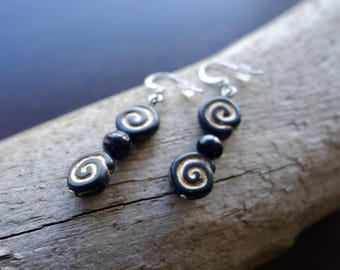 Bead Earrings   Black Dangle with Gold and Silver Accents
