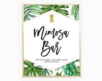 Mimosa Bar Sign | Tropical Bridal Shower Signs | Palm Leaf | Instant Download 8x10