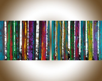 Abstract painting birch tree painting large wall art Original artwork orange blue green violet white red yellow gift for man by qiqigallery
