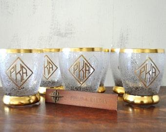 Vintage Monogrammed Glasses, Gold Rimmed, Vintage Glassware, Juice Glasses, Etched Glasses