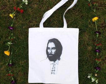 Practical and Lovely Tote Bag hand drawn Illustration Cotton Canvas Shopper Bag, Market Bag, Shopper, Beach Bag