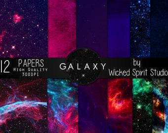 Galaxy Scrapbook Paper Set/ INSTANT DOWNLOAD/ Printable/ DIY/ Scrapbooking/ Paper/ digital paper/ textures/ crafts Space