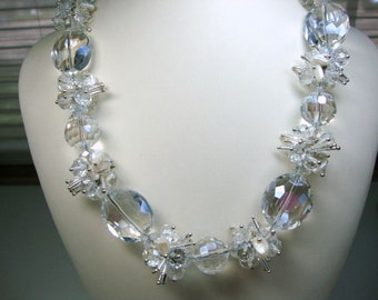 Bold Crystals White Freshwater Pearls Bridal Wedding Jewelry Formal Occasion