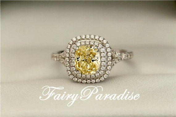 2 Carat Yellow Diamond Double Halo Ring Rectangle Cushion Cut
