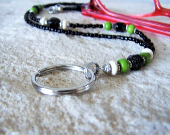 Green and Black Necklace Lanyard for Glasses, One Of A Kind, Gift for Her