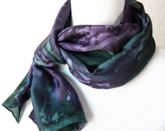 Silk Scarf Hand Painted in Plum and Forest Green