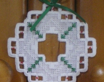 "Hardanger Holiday Ornament  -   ""Wreath"""