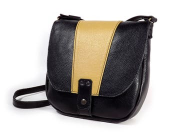 Leather satchel bag black and yellow