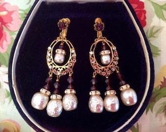 Glamorous Signed Miriam Haskell Earrings Chandelier Earrings Amethyst Stones Baroque Pearls Vintage Jewelry