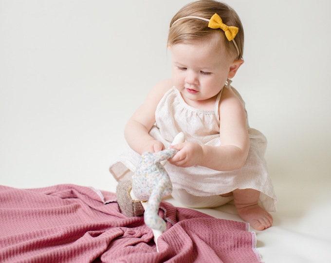 Featured listing image: Baby Swaddle- the | Rosalie | Dark Mauve Waffle Knit Swaddle Blanket