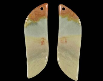 Natural Jasper Earring Beads Pairs genuine Gemstone Succor Creek Jasper Pendant earrings Bead 1 Pair  DA06407#