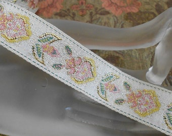 Pink Floral Ribbon Trim