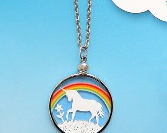 Papercut Rainbow Unicorn Necklace- Original Handcut Paper in Glass Pendants with Silver Chain