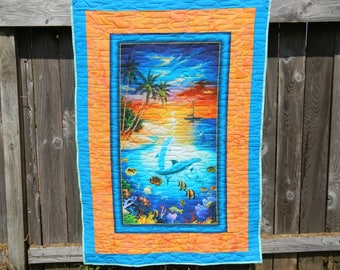 Dolphin Island Cotton Fabric Digital Quilt or Wallhanging by Quilting Treasures
