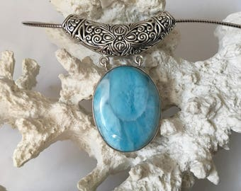 Reduced! OOAK Laura Bonetti Sterling Silver LARIMAR Pendant and Omega Chain