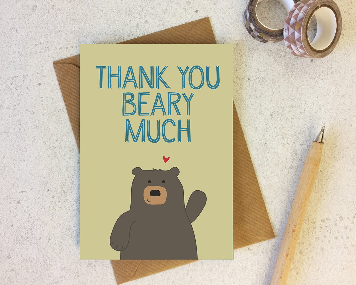 Bear thank you card thank you beary much cute bear zoom kristyandbryce Gallery