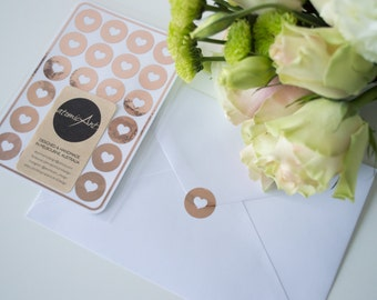 24 Envelope Seals in Rose Gold Copper  - Handmade Heart Stickers - Wedding invitations & favours - Baby Shower - Hershey Kiss