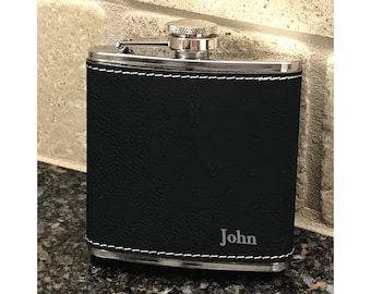 Personalized 6 oz. Black  Leatherette Stainless Steel Flask - Black Flask -  Gift Flask - Silver and Black - Personalized Gift Flask