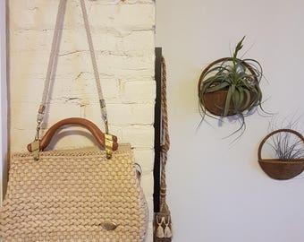 Vintage Creazioni Alma Made in Italy straw purse, top handle purse, retro straw purse, straw bag, vintage handbag