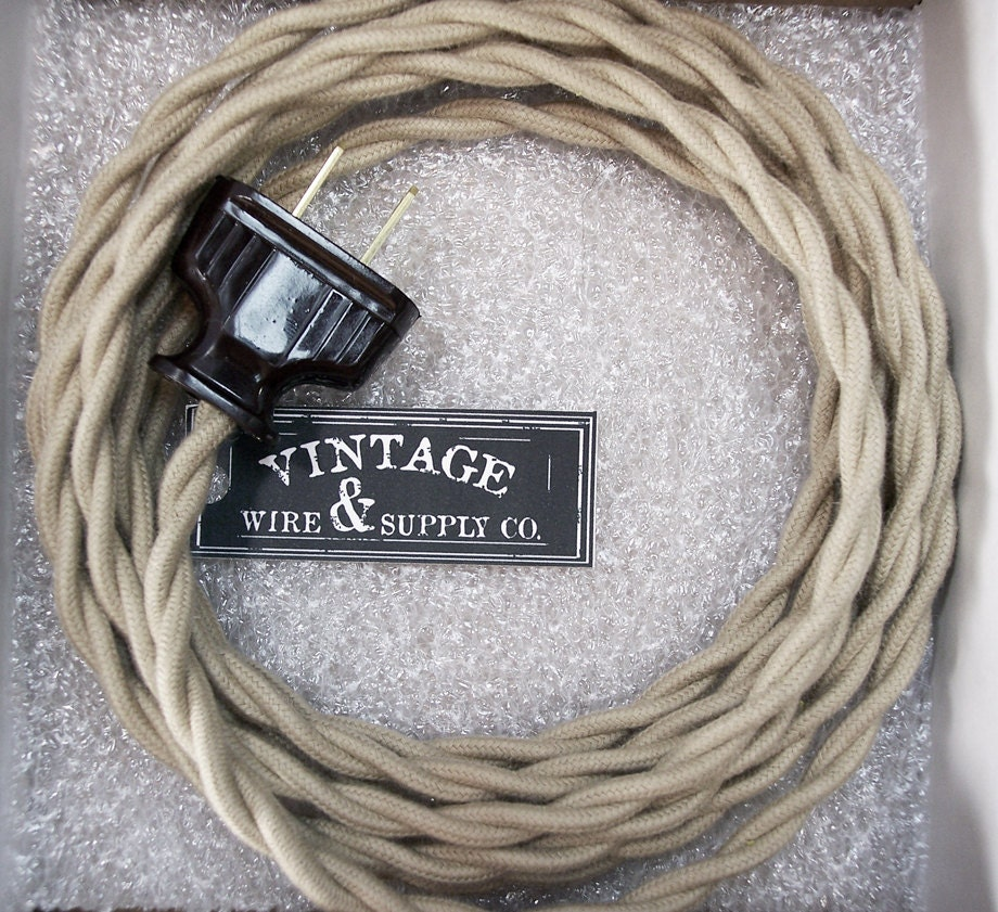 tan cotton cloth covered wire lamp cord 8 ft cordset rh etsy com Lamp Cord Switch Wiring Lamp Wiring Parts
