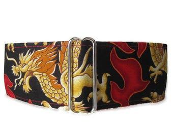 2 inch Martingale Collar, Red Martingale Collar, Flames Martingale Collar, Red Dog Collar, Wide Dog Collar, Dragon Dog Collar