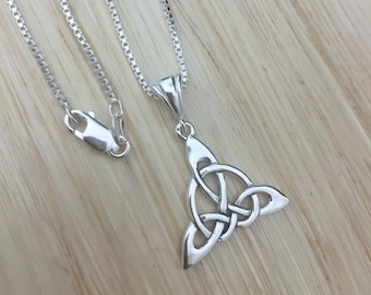 Celtic Knot Sterling Silver Necklace, 18 inch Sterling Silver Box Chain, Celtic Necklaces, Celtic Sterling Silver Handmade Celtic