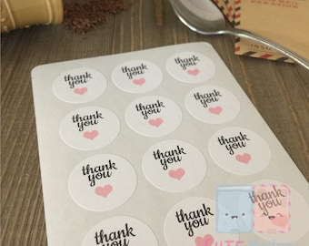 Pink Hearts Thank You Stickers (120 pieces)
