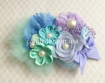 Purple Mint Flower Lace Baby Headband * Baby Hairclip * Lace Headband * Newborn Photography Prop * Baby Shower Gift * Prom Corsage