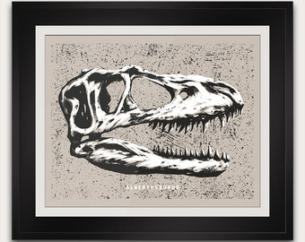Albertosaurus - Cretaceous - Dinosaur Fossil Skull - Paleontology - 14x11 Inches - Open Edition - Signed - Handmade Screenprint Poster Art
