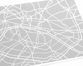 Paris City Map Art Print / France Map Wall Art / 8x10 / Choose your Color