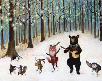 Print / Whimsical Woodland / Forest Festivities /  Woodland Art / Nursery Art / Animal Band / Home Decor / Banjo / Black Bear / Fox art