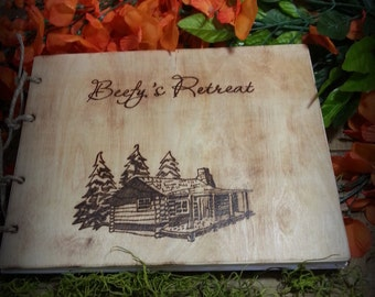Cabin Guest Book, Vacation Rental Book, Closing Gift, Vrbo Guest Book, Personalized Rustic Wooden Guest Book, House Warming Gift