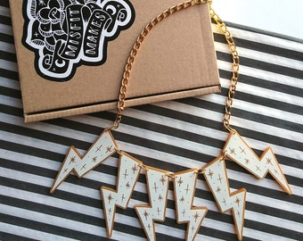 White Lightning Bolt Necklace by Misfit Makes. Star Statement Necklace. Weather Necklace.