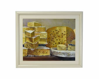 Vintage Jan Miller Still Life Painting Gourmet Cheese Wheels And Wedges
