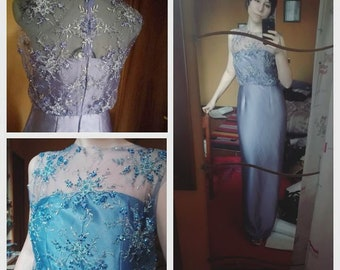 Long Dress - violet/lilac, silk satin and lace with crystals FREE SHIPPING