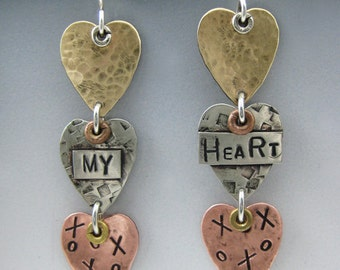 Heart Earrings, Mixed Metal Heart Earrings, Tri Metal Heart Earrings RP0473