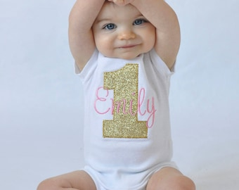 Girl First Birthday Outfit / First Birthday Outfits / First Birthday Shirt / Pink and Gold First Birthday / Personalized First Birthday