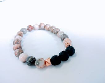 Diffusing Bracelet-rose gold and jasper,essential oils,diffuser,pink,gray,natural Stone,lava rock