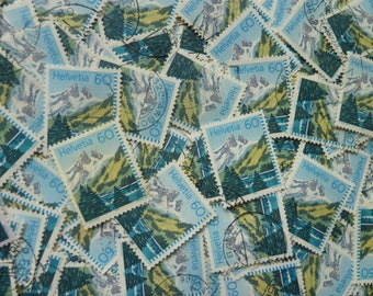 Swiss Stamps  - Lot of 100 Stamps from Switzerland for Decoupage, Collage, Scrapbooking, Jewelry, etc.