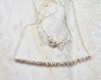 tiny rough raw gray diamond necklace. sterling silver chain. tiny raw gray diamond necklace. gray raw rough diamond jewelry.