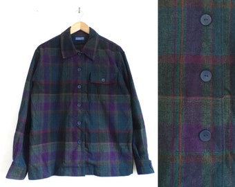 vintage plaid wool flannel shirt 90s dark colorful button down 1990s grunge boxy cut wool top womens size large