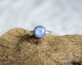 Light blue gem ring for her, sterling silver adjustable ring, ring with blue gem, OOAK sterling silver ring, wood silver gift for her