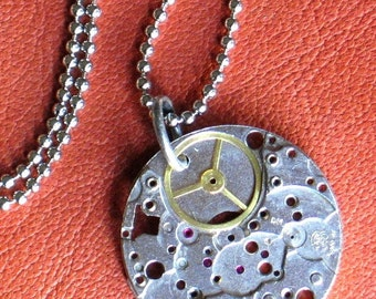 Steampunk Necklace or Keychain Art Daily Accessory Vintage watch base 18 inch ballchain Steampunk Industrial Necklace