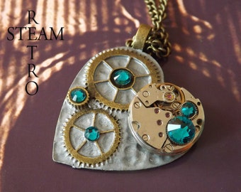 steampunk Necklace The Clockheart Steampunk Blue Zircon Necklace - Steampunk Jewelry by Steamretro - Christmas gift